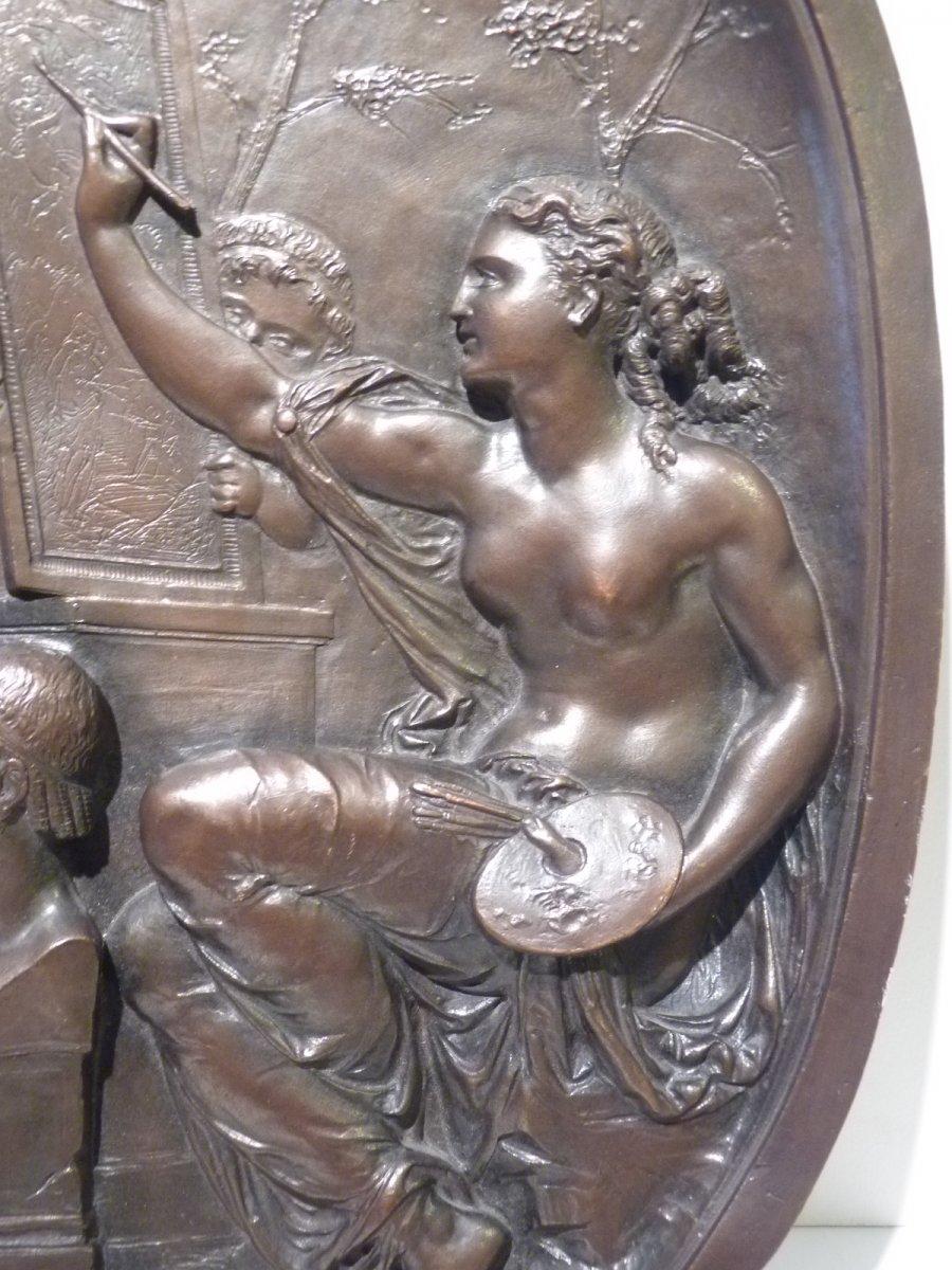 Jean Baptiste Germain (1841-1910) Allégorie des Arts, Médaillon Bronze Patiné-photo-2