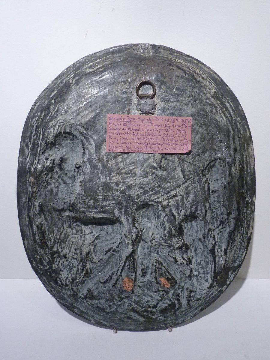 Jean Baptiste Germain (1841-1910) Allégorie des Arts, Médaillon Bronze Patiné-photo-4