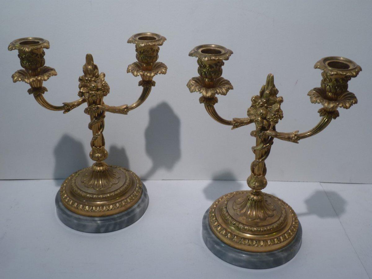 Paire de Candélabres, Bronze Doré et Marbre, Style Louis XVI, époque Napoléon III