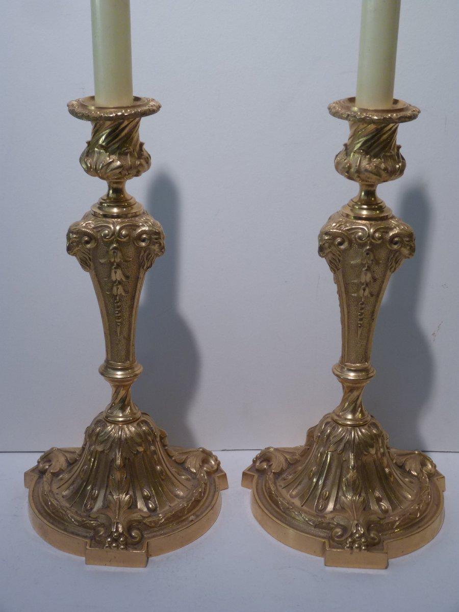 Pair Of Candlesticks, Louis XVI Style, Gilt Bronze, 19th Century