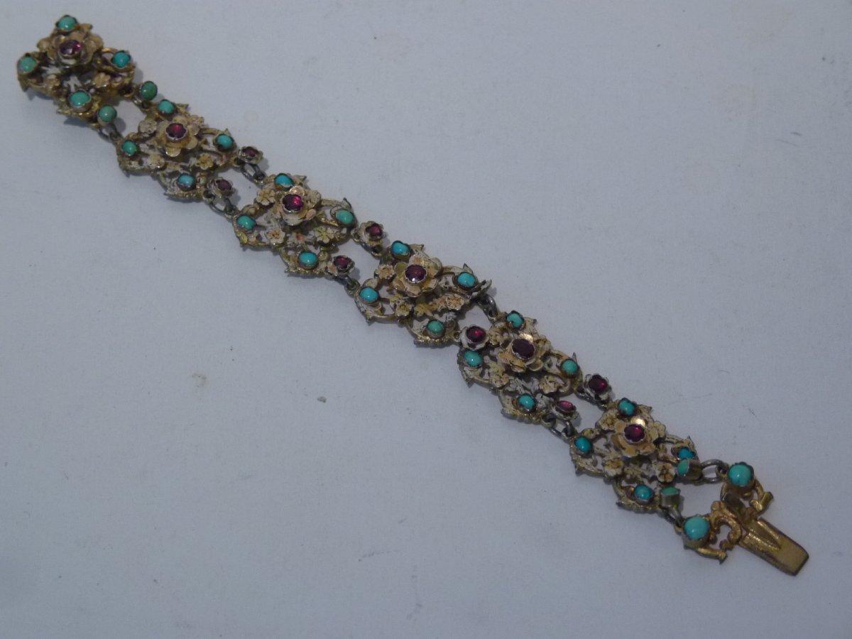 Bracelet Romantique, Vermeil Grenats Turquoise, Style Renaissance, 19e Siècle