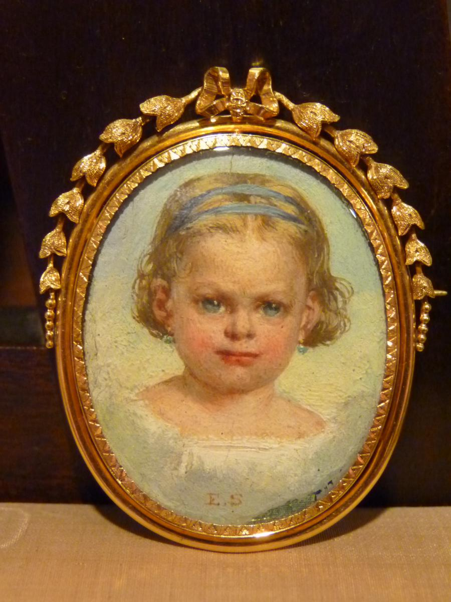Miniature-pin, Portrait Of Little Girl In Gold Frame, Napoleon III