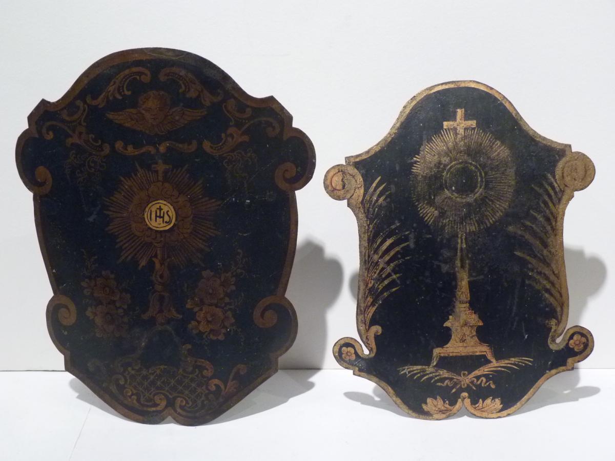 Deux Lanternes de Procession, Tôles Peintes, 19e Siècle