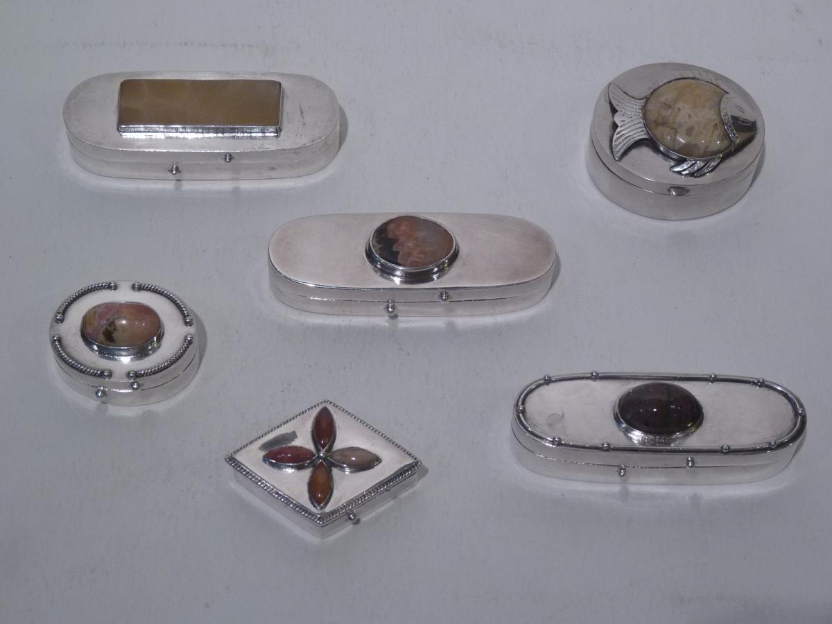 Lot 6 Boxes, Sterling Silver And Hard Stones, 20th Century
