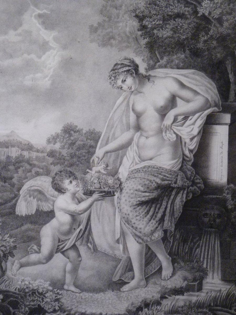 Vénus & l'Amour, Dessin Néoclassique par Virginie du Thozet, époque Restauration