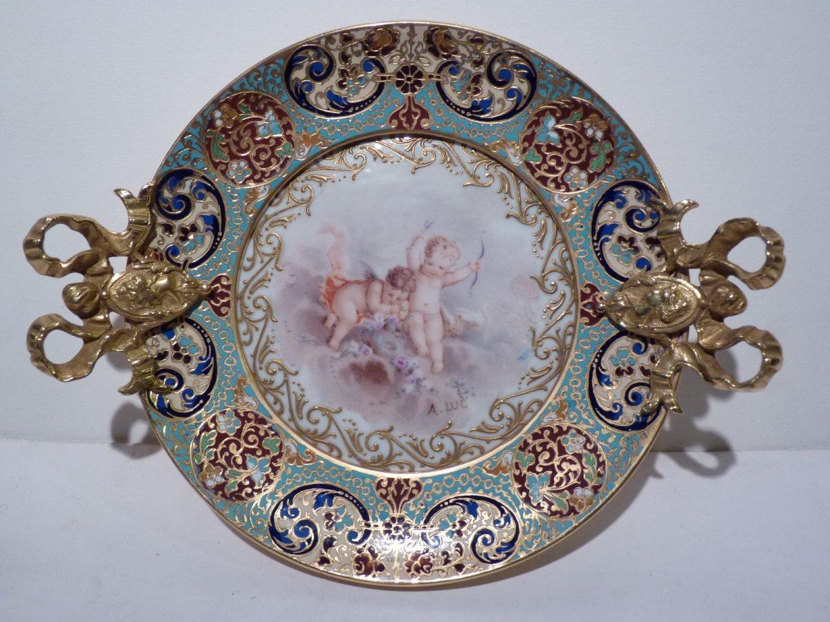 Coupe en Porcelaine, Bronze Doré Emaillé, Epoque Napoléon III