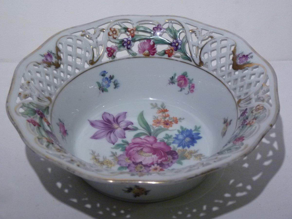 Basket Bowl, Bavarian Porcelain, Early 20th Century
