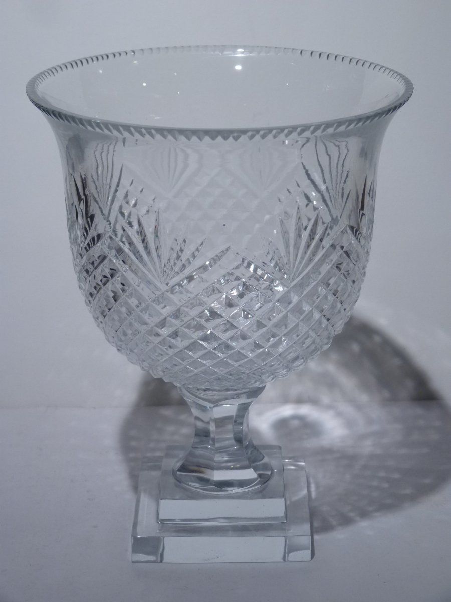 Pair Of Cut Crystal Cups, 20th Century-photo-1