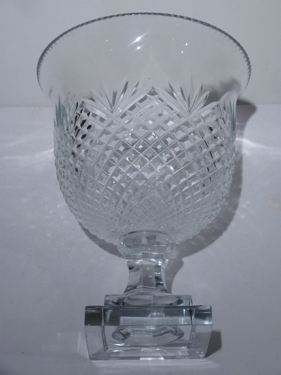 Pair Of Cut Crystal Cups, 20th Century-photo-2