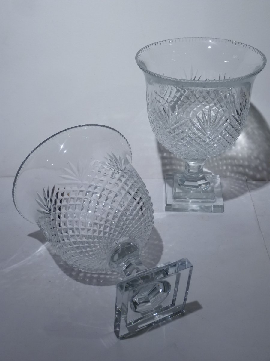 Pair Of Cut Crystal Cups, 20th Century