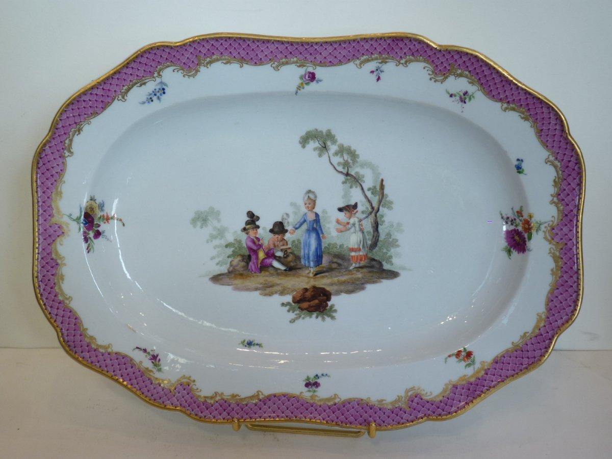 Rare Plat Porcelaine de Meissen, Décor aux Enfants, 18ème Siècle