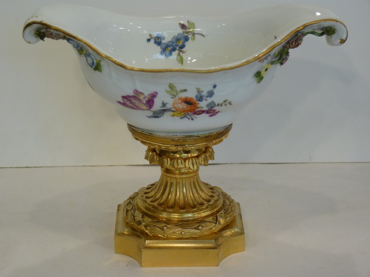 Meissen Porcelain And Gilt Bronze Cup, 18th - 19th Century