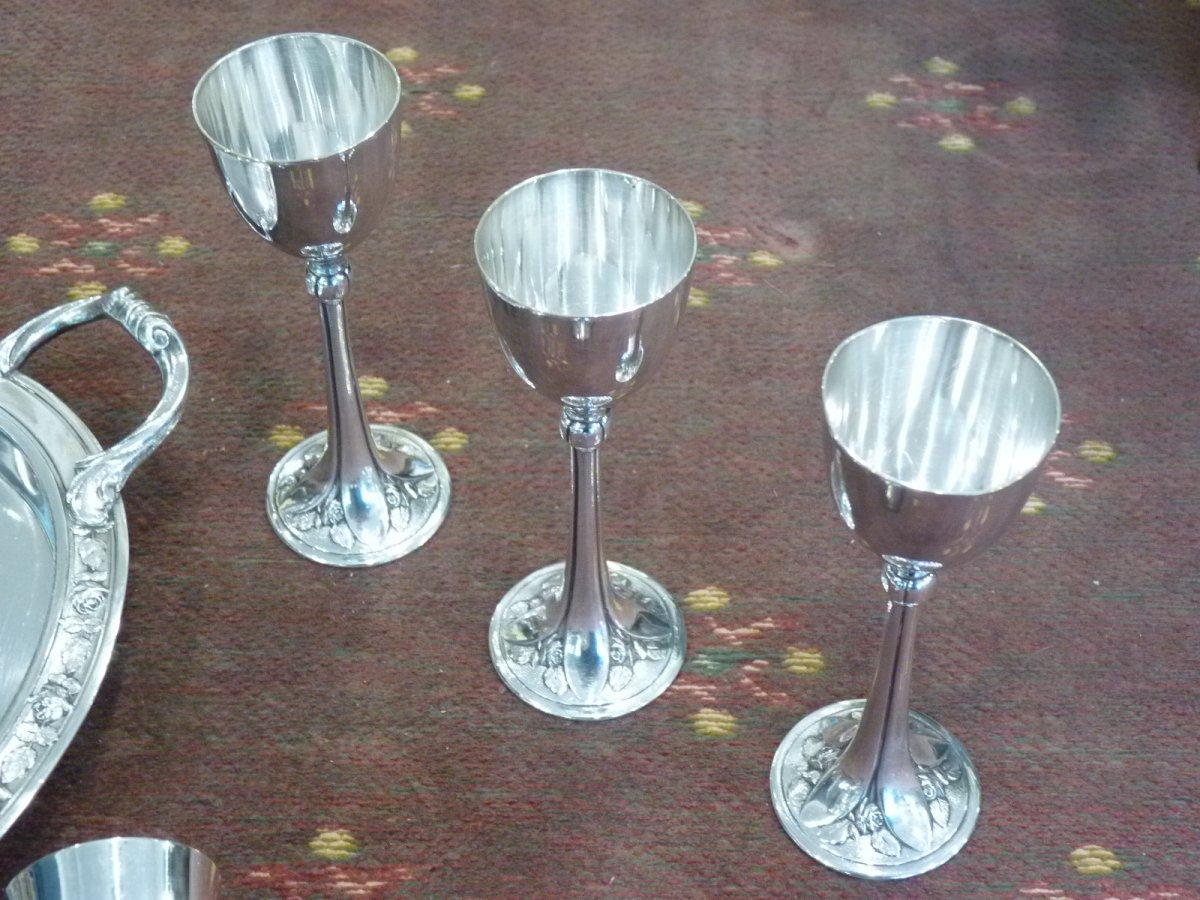 Service à Vodka Art Déco, Métal Argenté, Orfèvre Argit-photo-6