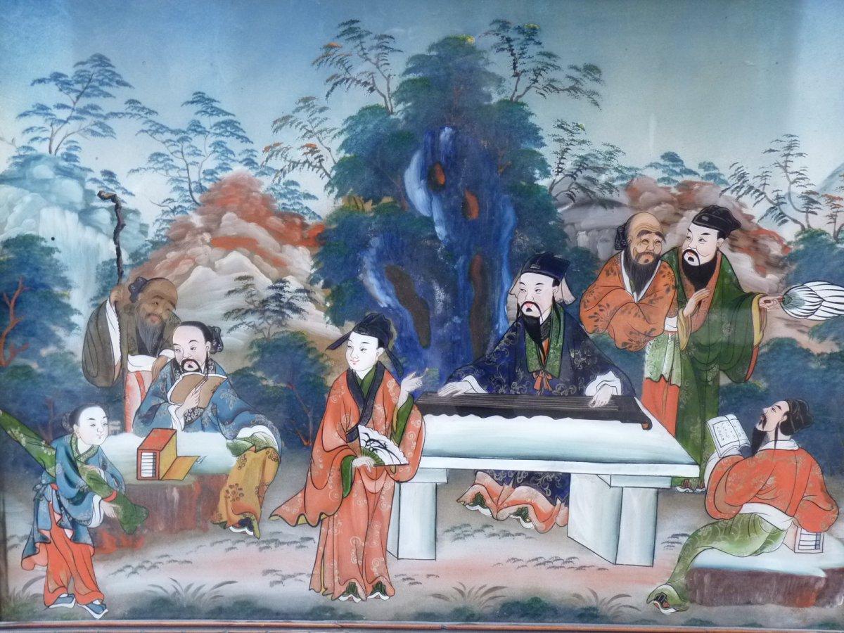 Assemblée de Lettrés, Peinture Fixé Sous Verre, Chine 19e Siècle-photo-1