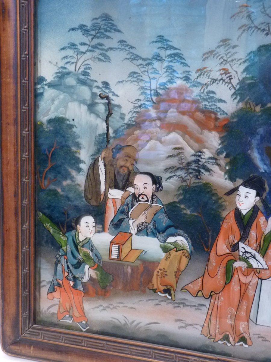 Assemblée de Lettrés, Peinture Fixé Sous Verre, Chine 19e Siècle-photo-3