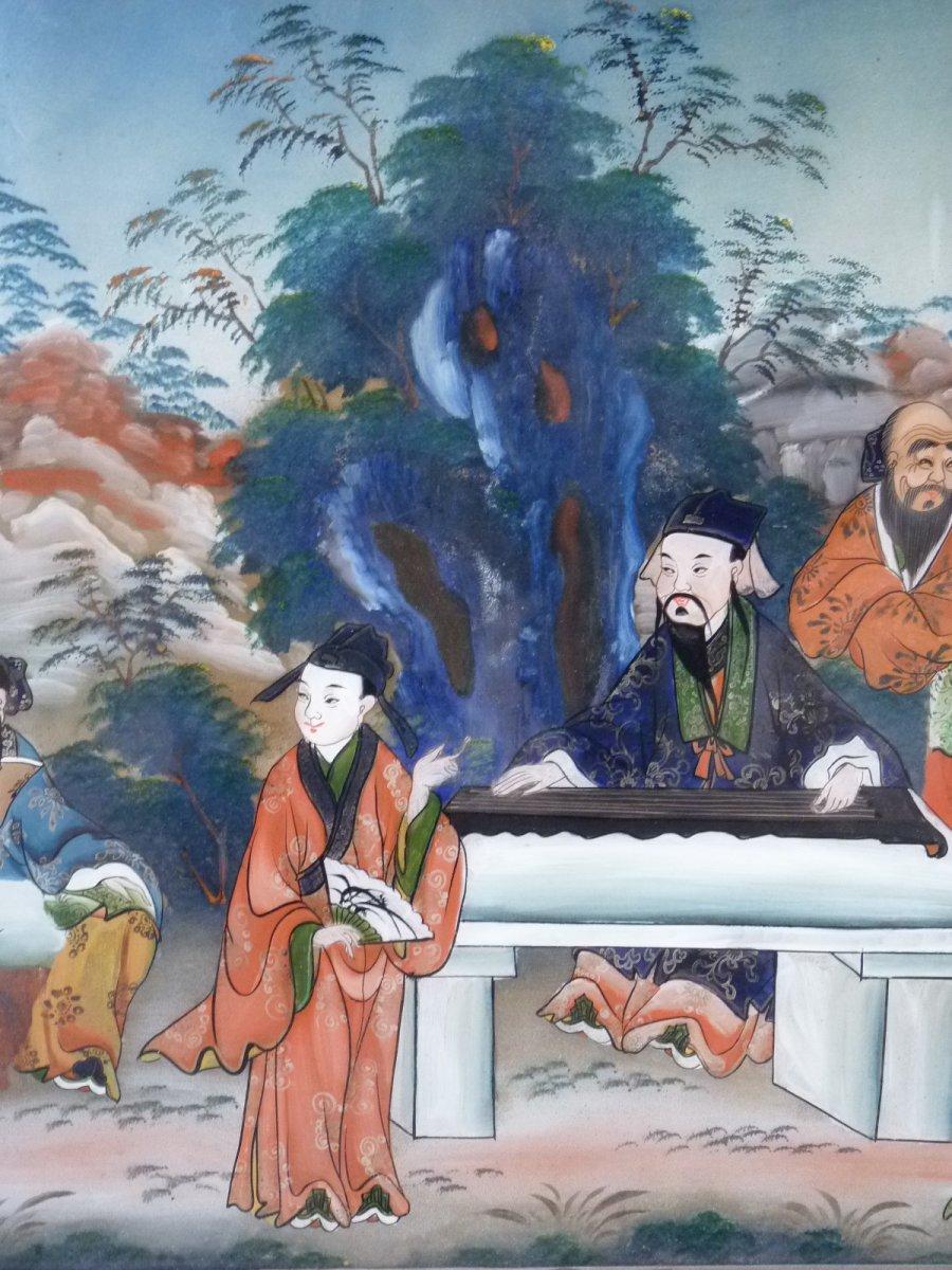 Assemblée de Lettrés, Peinture Fixé Sous Verre, Chine 19e Siècle-photo-6