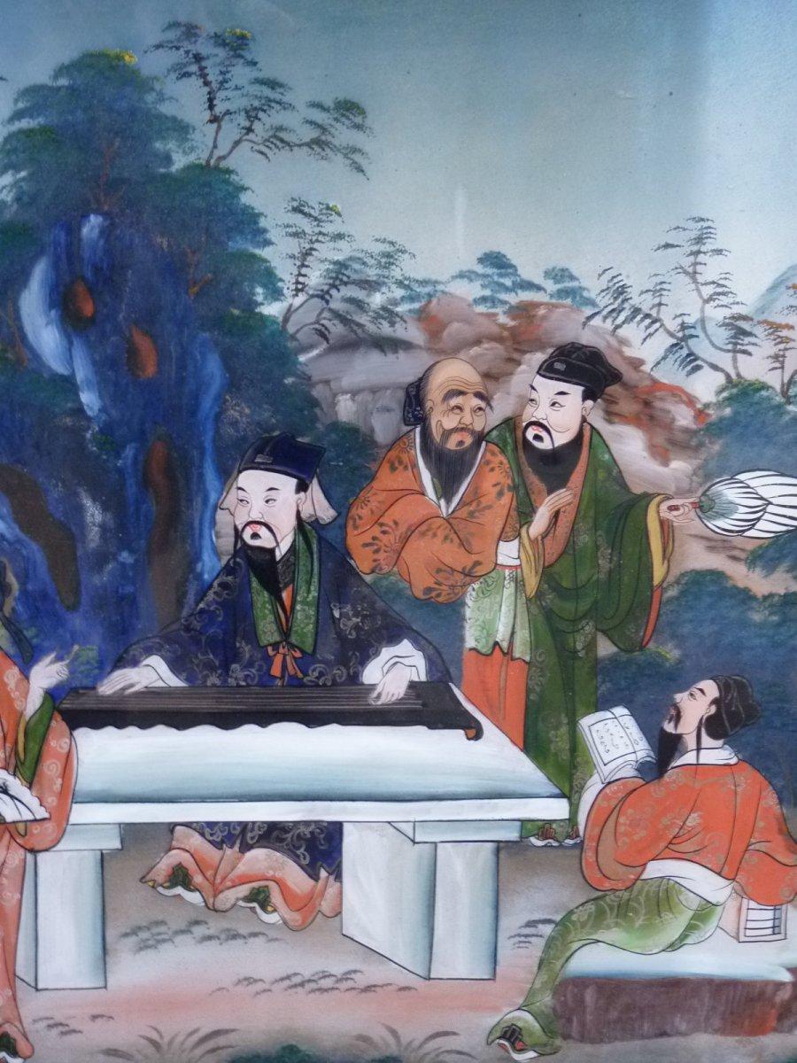 Assemblée de Lettrés, Peinture Fixé Sous Verre, Chine 19e Siècle-photo-7