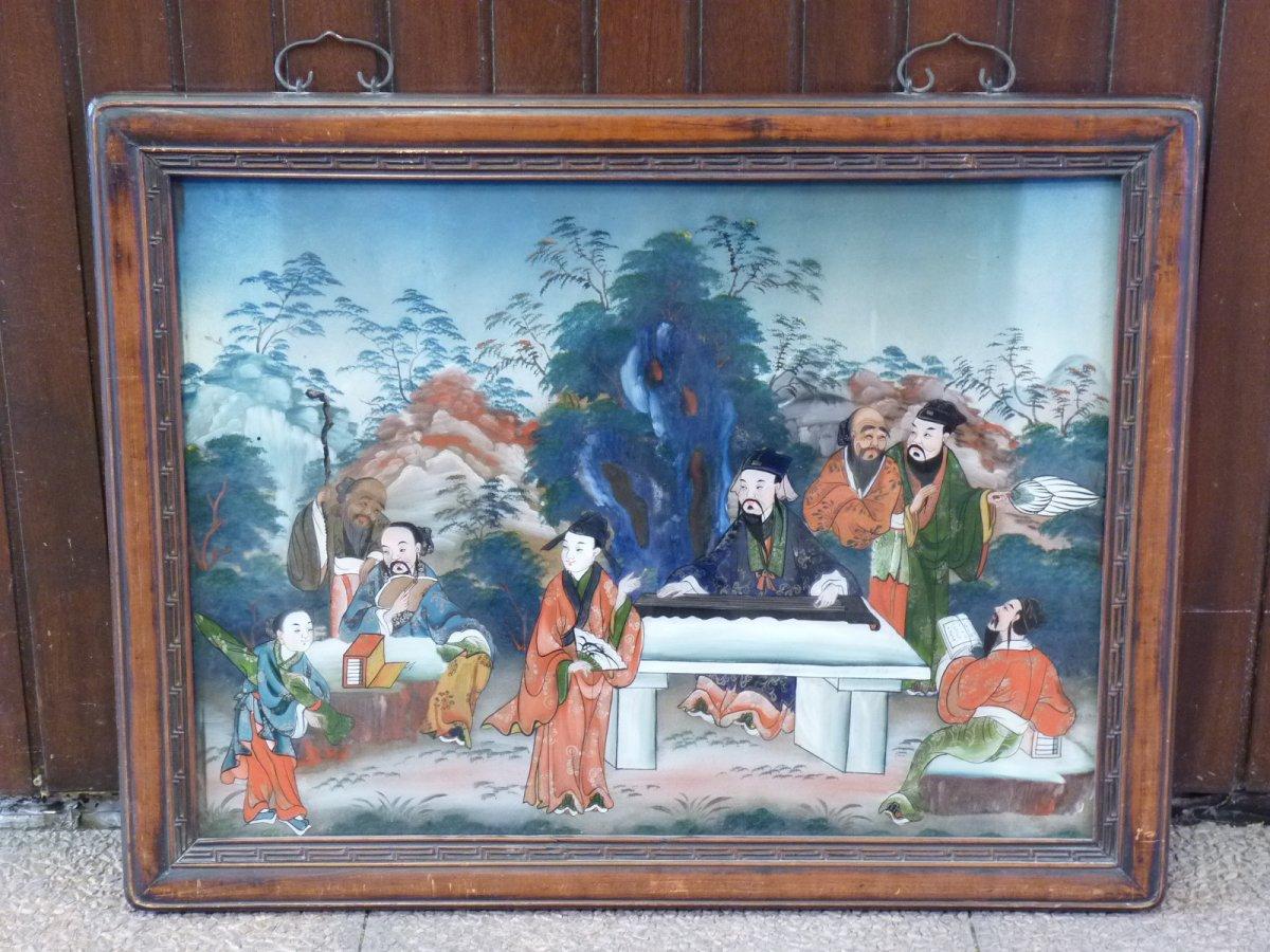 Assemblée de Lettrés, Peinture Fixé Sous Verre, Chine 19e Siècle-photo-8