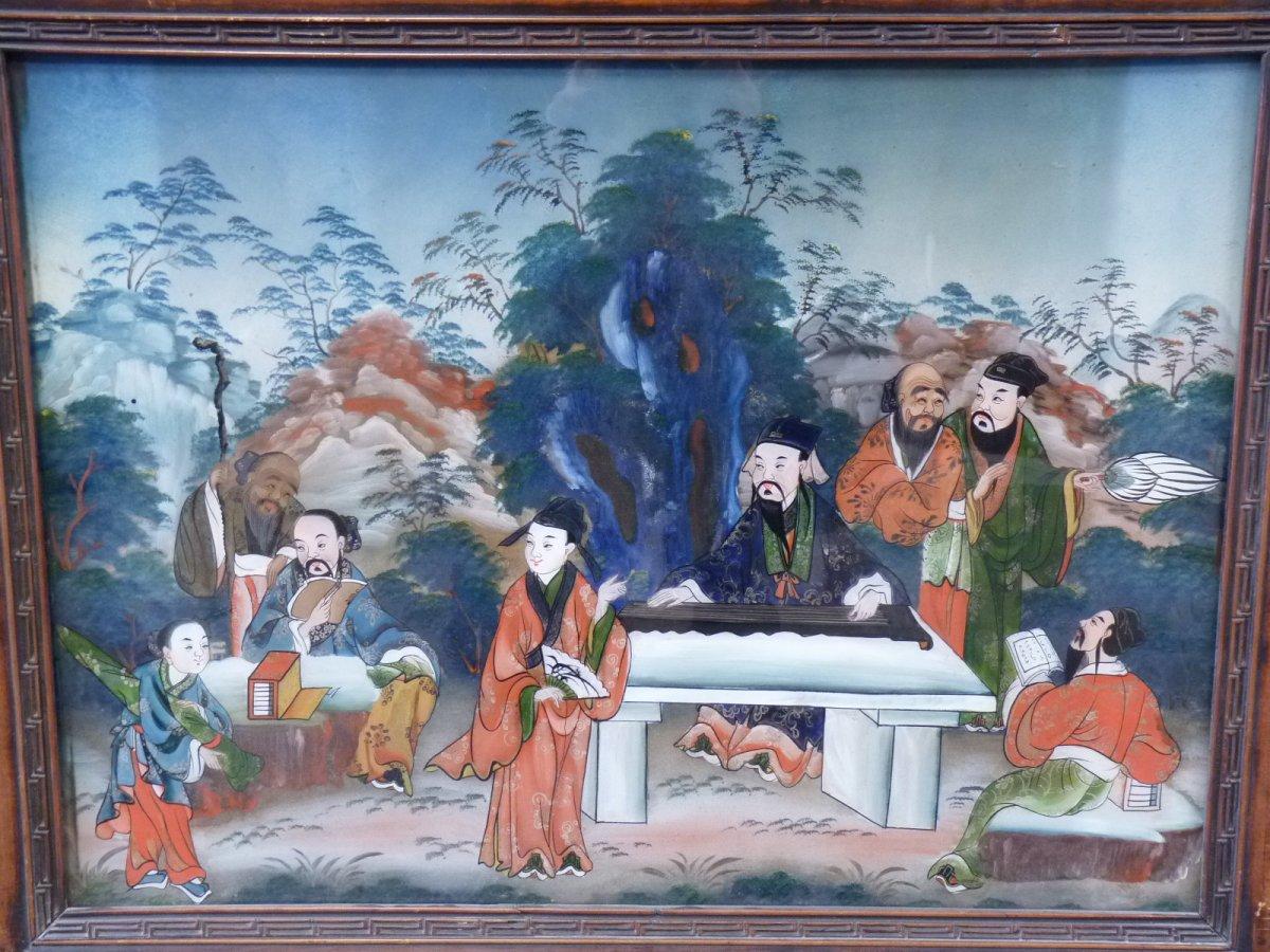 Assemblée de Lettrés, Peinture Fixé Sous Verre, Chine 19e Siècle