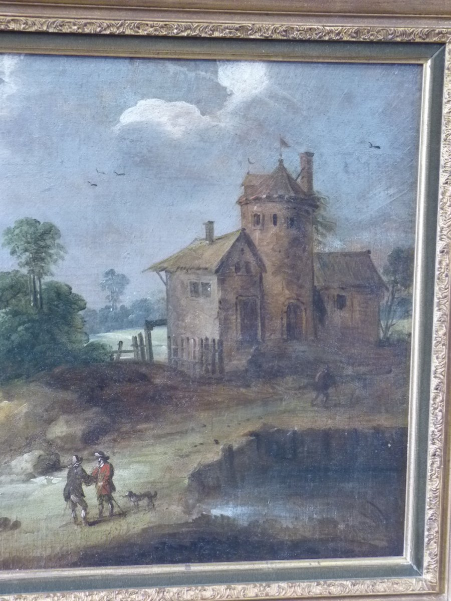 Flemish School 17th Century, Landscape At Castelet, Follower Of Isaac Van Oosten-photo-4