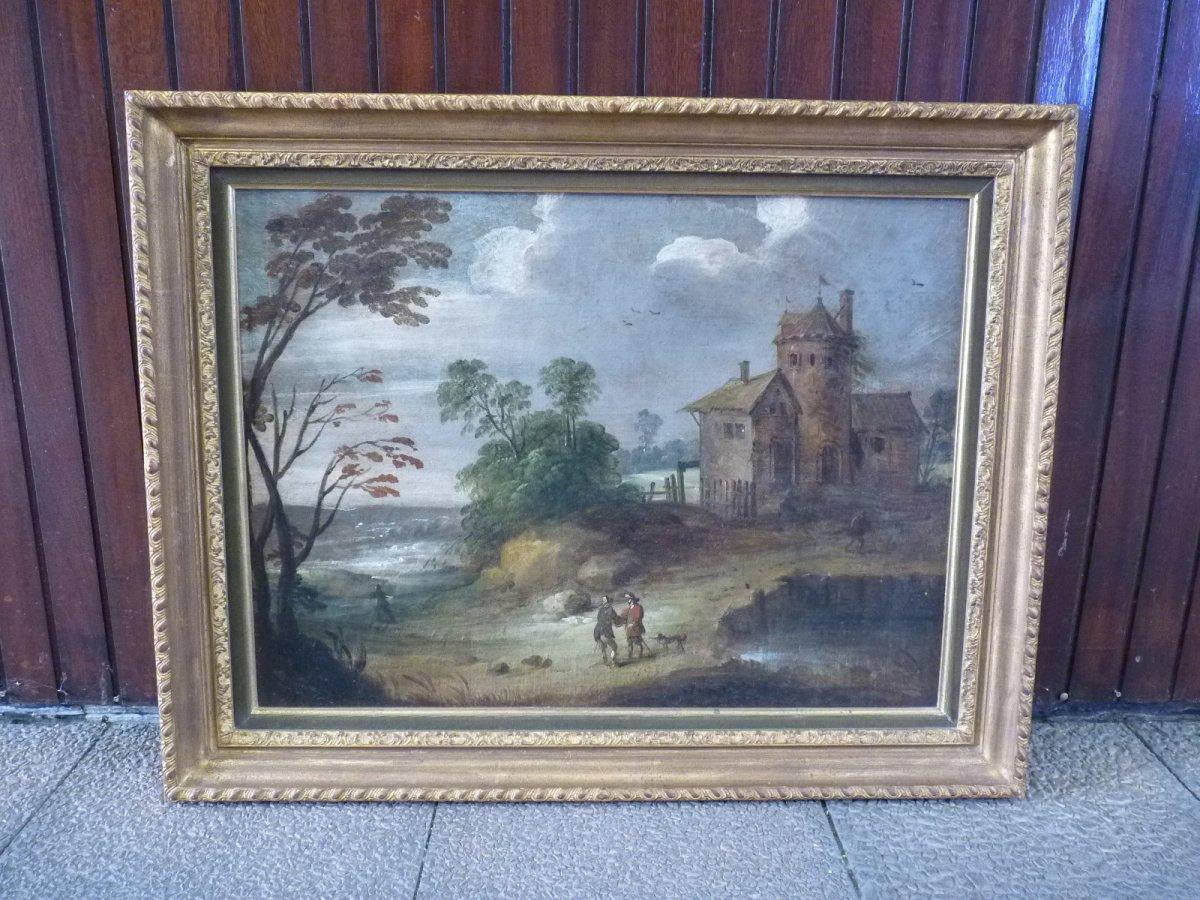 Flemish School 17th Century, Landscape At Castelet, Follower Of Isaac Van Oosten-photo-8