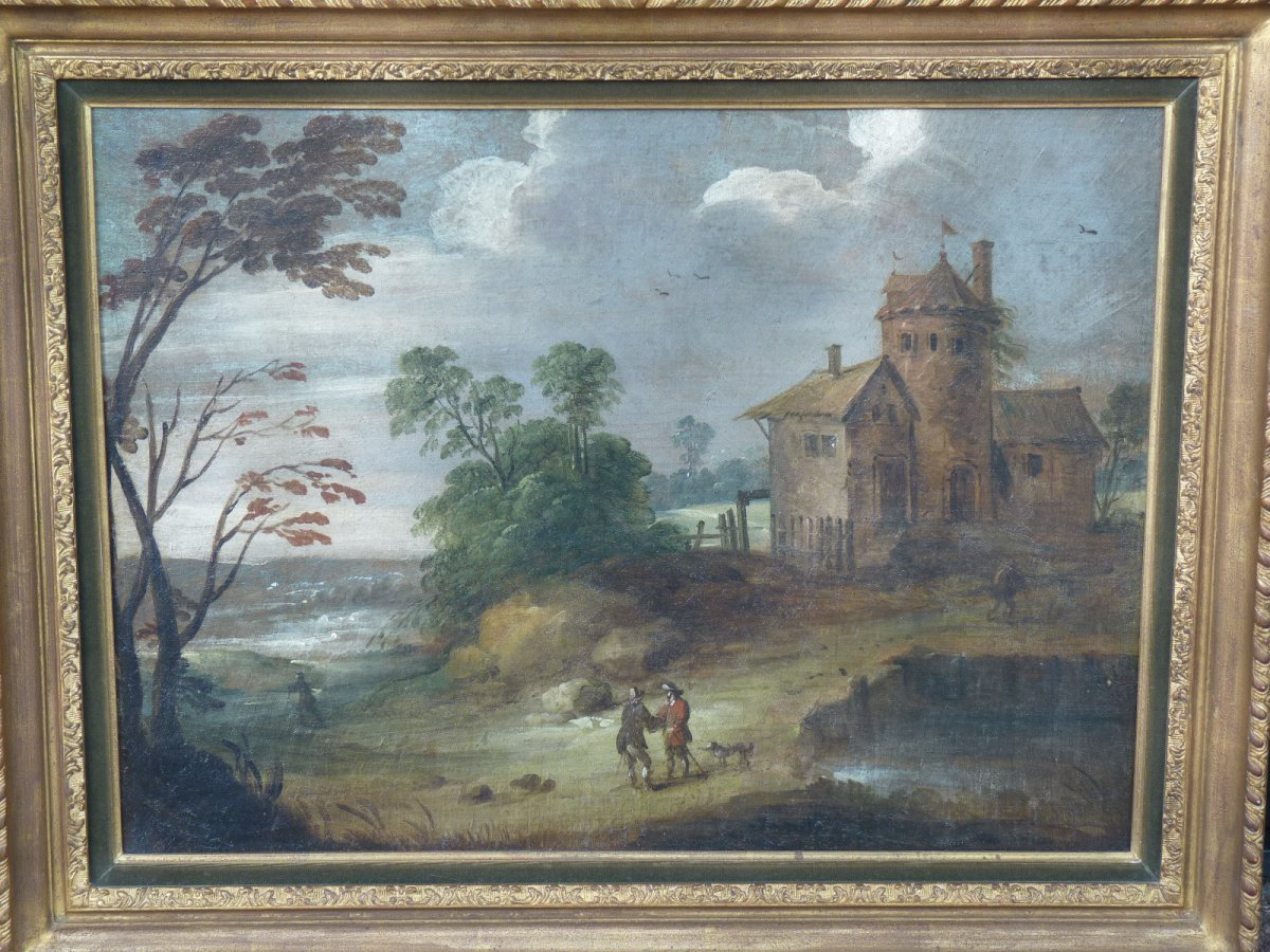 Flemish School 17th Century, Landscape At Castelet, Follower Of Isaac Van Oosten