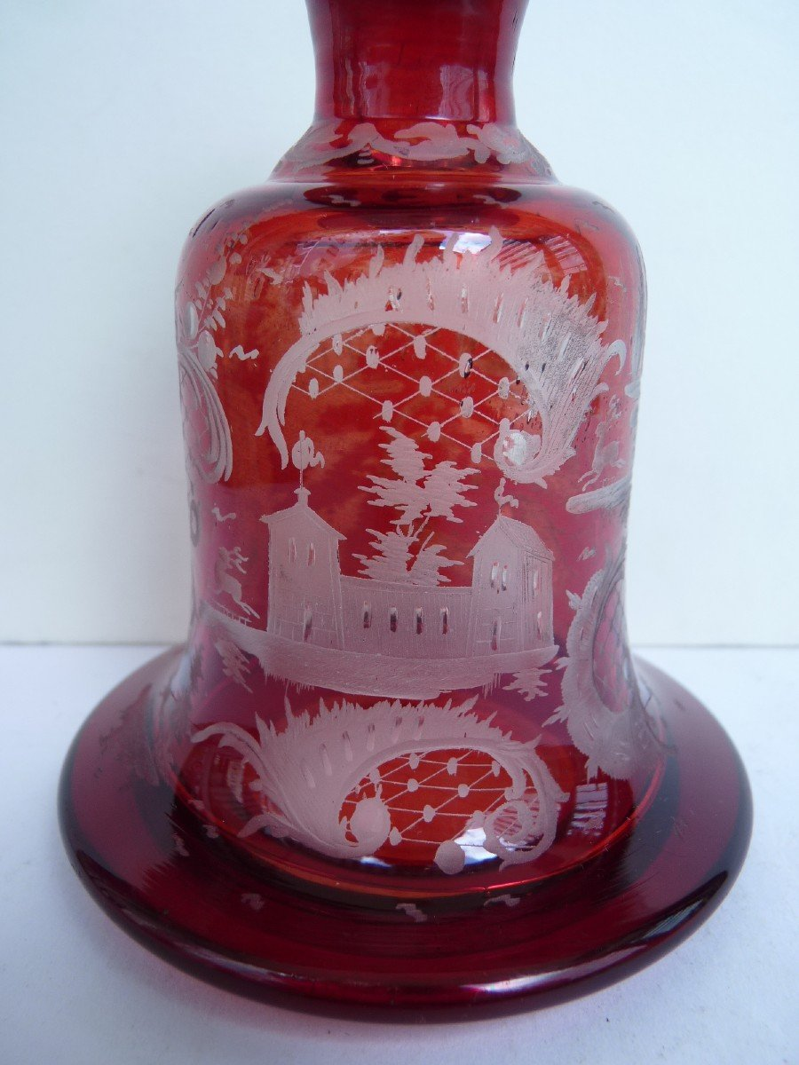 Carafe à Liqueur, Cristal de Bohème, 19e Siècle-photo-2
