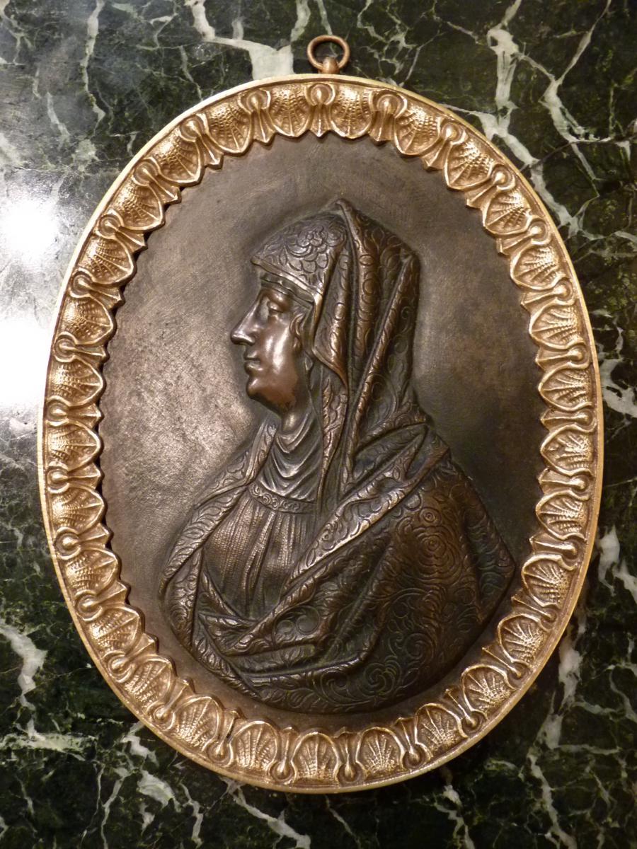 Paire de Médaillons, Bronze Doré Patiné, Le Christ Et La Vierge, époque Restauration-photo-3
