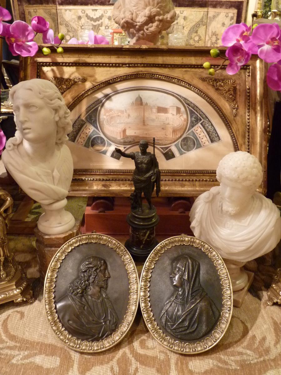 Paire de Médaillons, Bronze Doré Patiné, Le Christ Et La Vierge, époque Restauration-photo-4