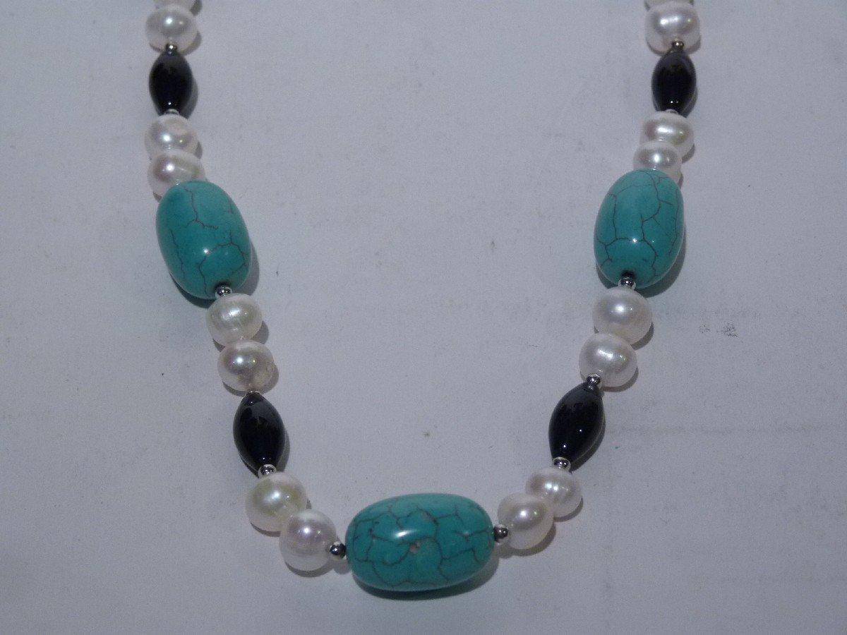 Collier Perles d'Eau Douce, Turquoises, Onyx et Acier, XXème Siècle-photo-2