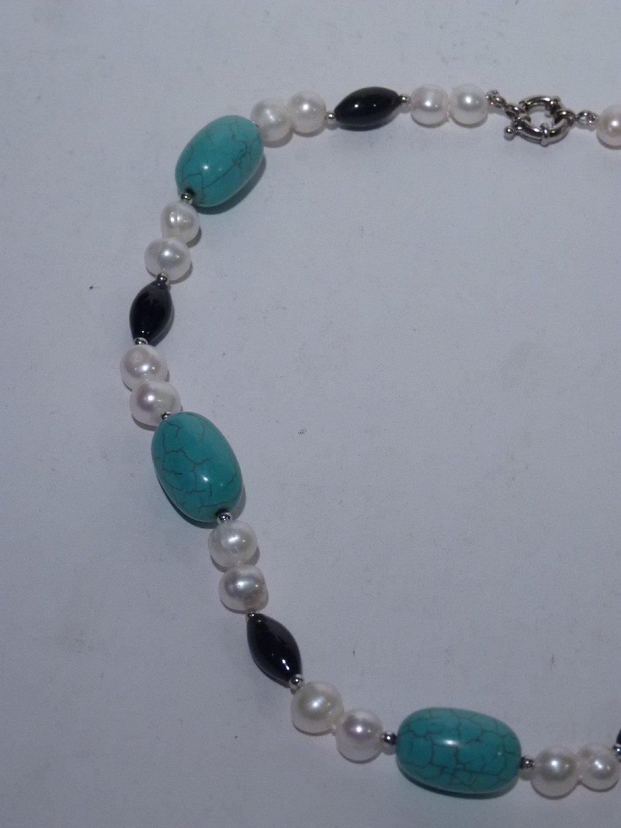 Collier Perles d'Eau Douce, Turquoises, Onyx et Acier, XXème Siècle-photo-4
