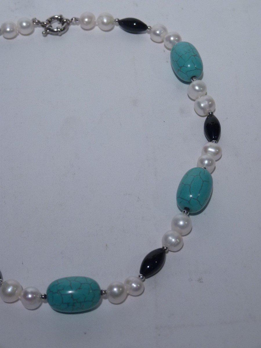 Collier Perles d'Eau Douce, Turquoises, Onyx et Acier, XXème Siècle-photo-1