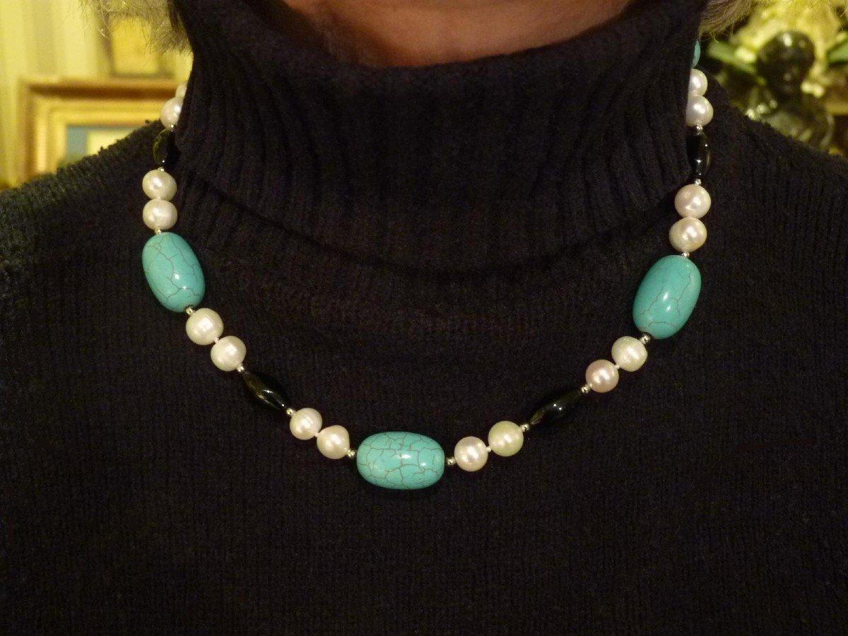 Collier Perles d'Eau Douce, Turquoises, Onyx et Acier, XXème Siècle-photo-3