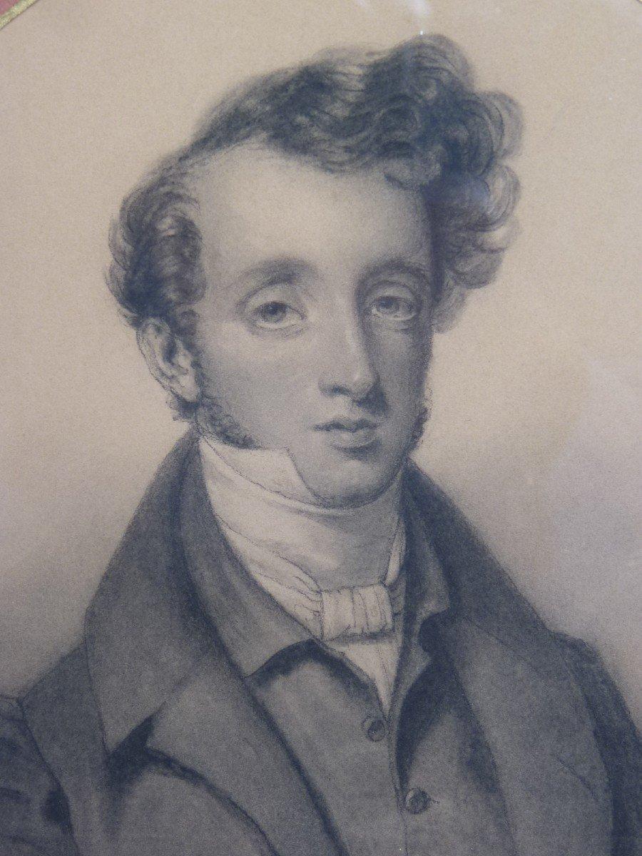 Portrait Of A Beautiful Romantic Dandy, Drawing Signed Dated Adèle Bertrand 1845-photo-1