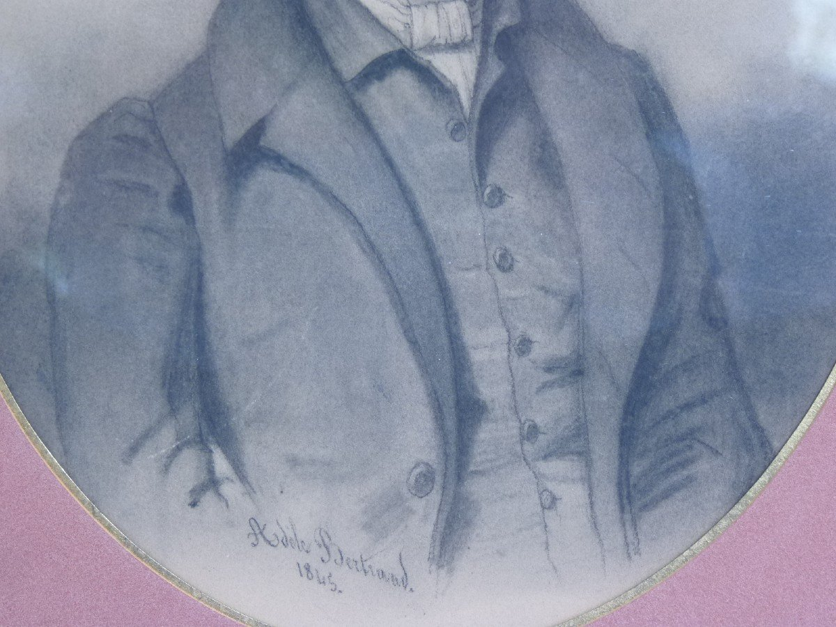 Portrait Of A Beautiful Romantic Dandy, Drawing Signed Dated Adèle Bertrand 1845-photo-2