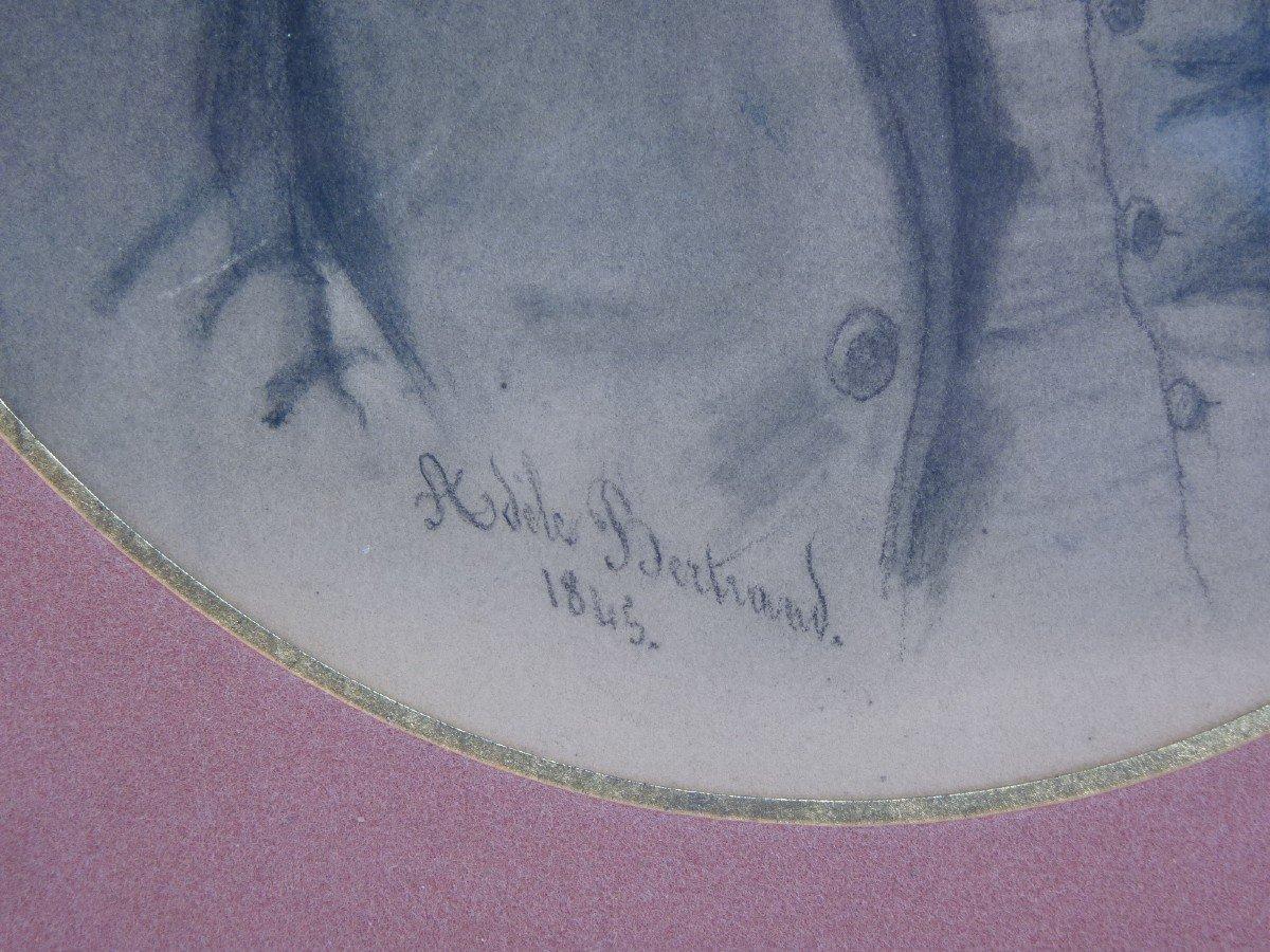 Portrait Of A Beautiful Romantic Dandy, Drawing Signed Dated Adèle Bertrand 1845-photo-3