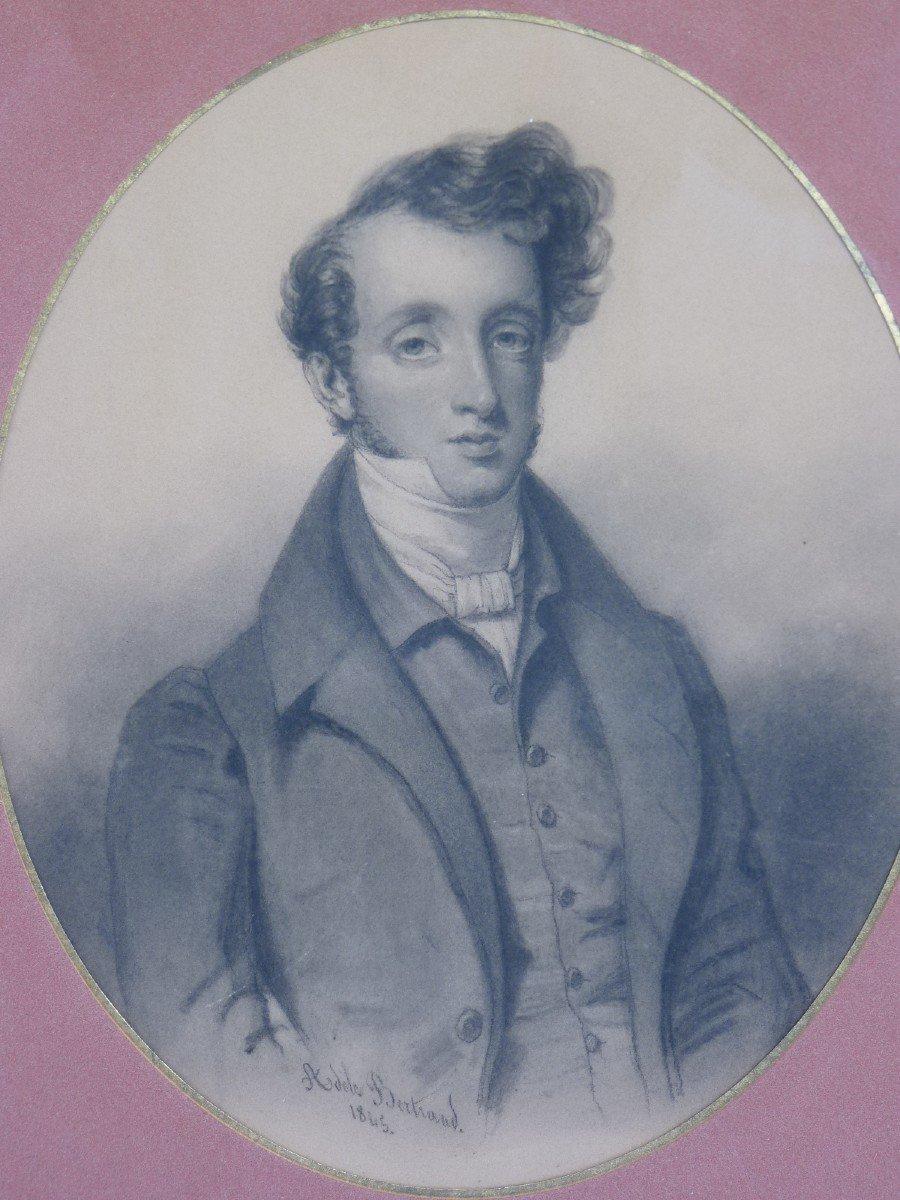 Portrait Of A Beautiful Romantic Dandy, Drawing Signed Dated Adèle Bertrand 1845-photo-4