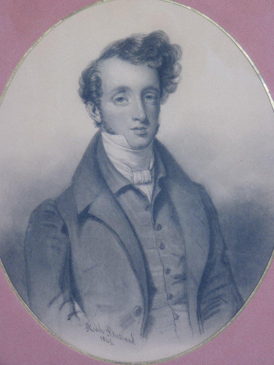 Portrait Of A Beautiful Romantic Dandy, Drawing Signed Dated Adèle Bertrand 1845