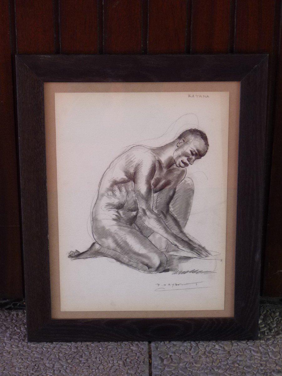 Paul Daxhelet (1905-1993) Africain Agenouillé au Sénégal, Dessin Signé-photo-2