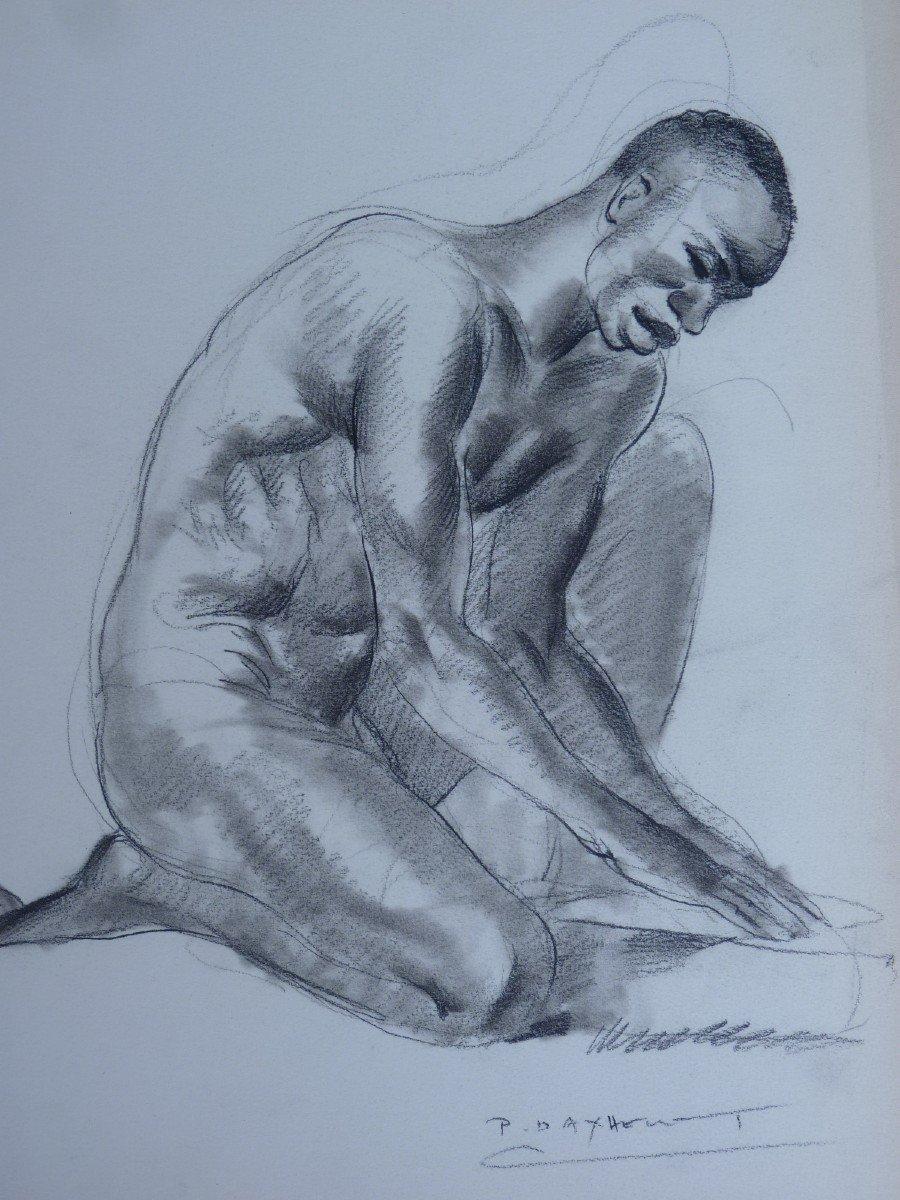 Paul Daxhelet (1905-1993) Africain Agenouillé au Sénégal, Dessin Signé-photo-3