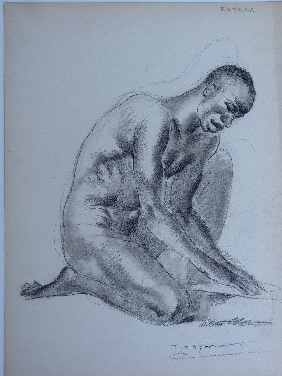 Paul Daxhelet (1905-1993) Africain Agenouillé au Sénégal, Dessin Signé-photo-4