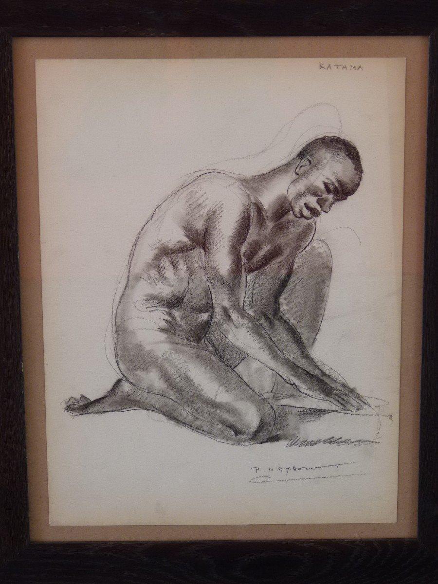 Paul Daxhelet (1905-1993) Africain Agenouillé au Sénégal, Dessin Signé