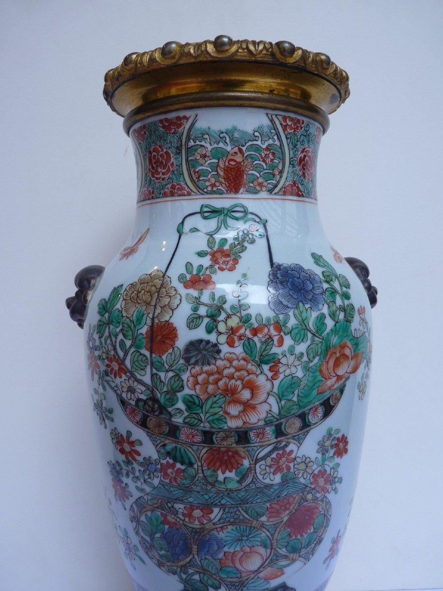 Vase Porcelaine Famille Verte d'époque Kangxi, Monture Bronze Doré, 18e Siècle -photo-3