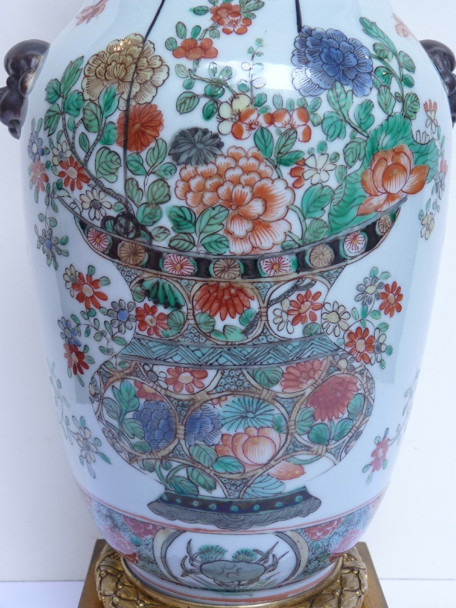 Vase Porcelaine Famille Verte d'époque Kangxi, Monture Bronze Doré, 18e Siècle -photo-1