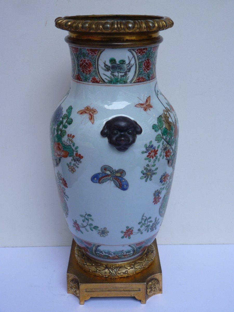 Vase Porcelaine Famille Verte d'époque Kangxi, Monture Bronze Doré, 18e Siècle -photo-4