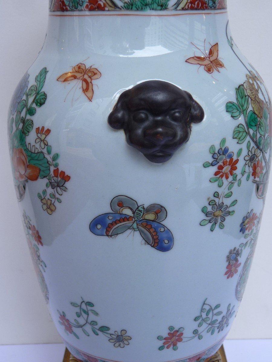 Vase Porcelaine Famille Verte d'époque Kangxi, Monture Bronze Doré, 18e Siècle -photo-5