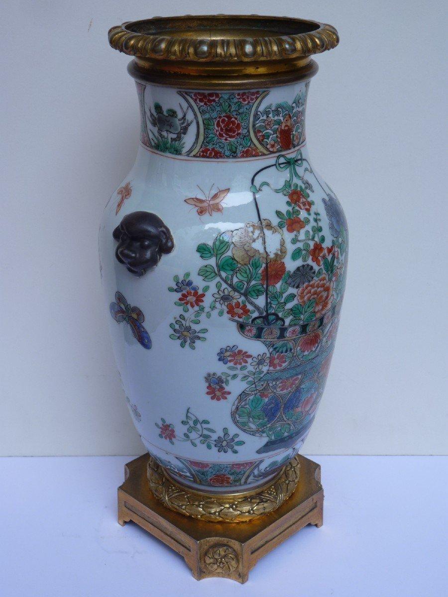 Vase Porcelaine Famille Verte d'époque Kangxi, Monture Bronze Doré, 18e Siècle -photo-6