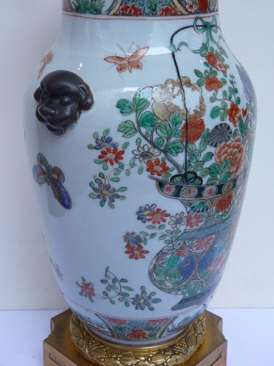 Vase Porcelaine Famille Verte d'époque Kangxi, Monture Bronze Doré, 18e Siècle -photo-7