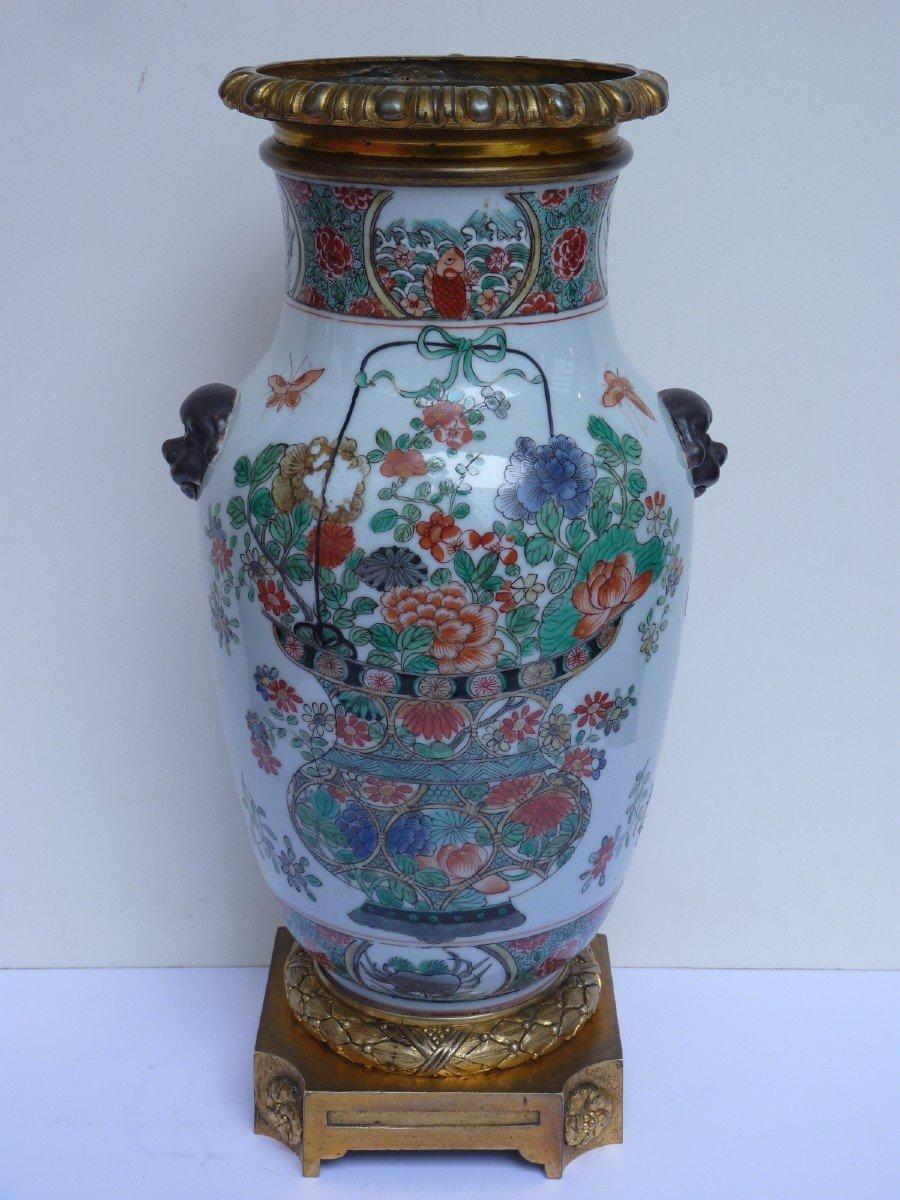 Vase Porcelaine Famille Verte d'époque Kangxi, Monture Bronze Doré, 18e Siècle -photo-8