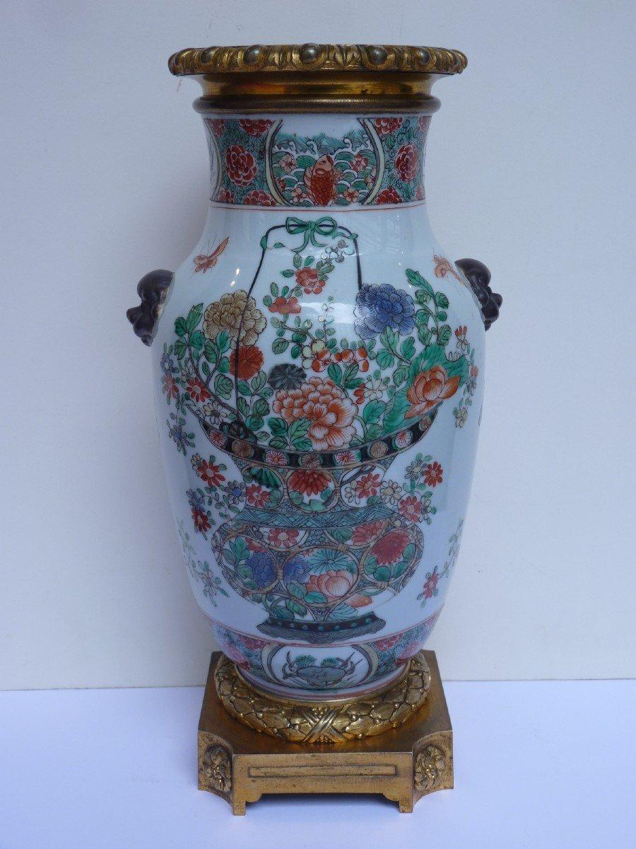 Vase Porcelaine Famille Verte d'époque Kangxi, Monture Bronze Doré, 18e Siècle